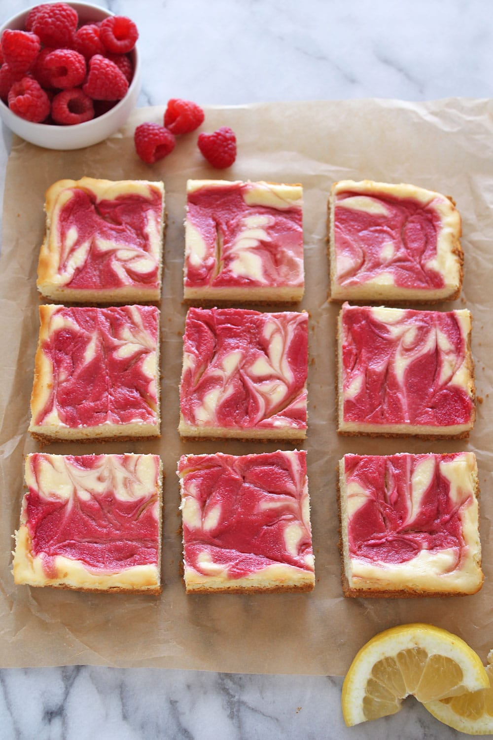 Nine squares of cheesecake bars