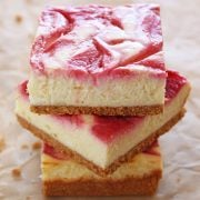 Stack of three cheesecake bars