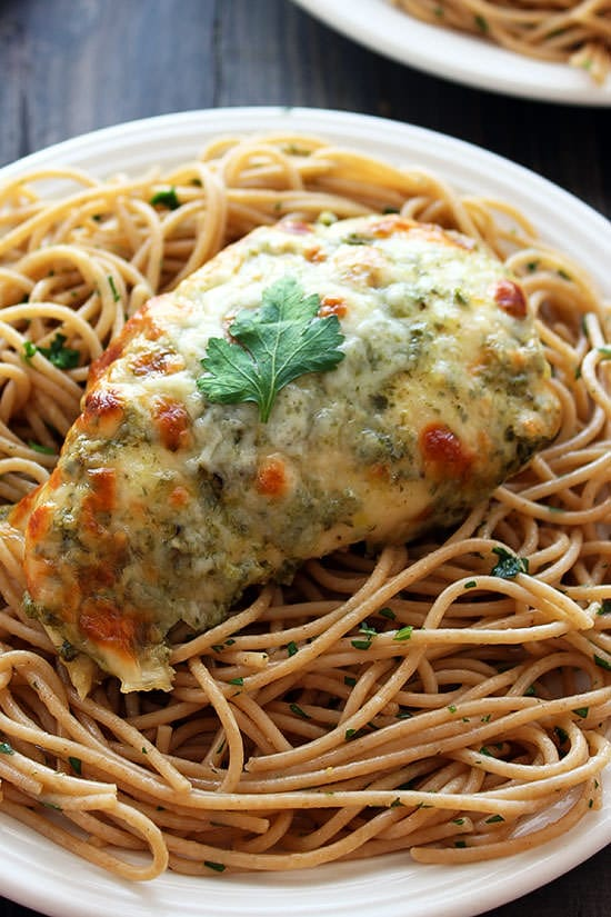 Baked Chicken Pesto Parmesan - 25 minutes and 4 ingredients!