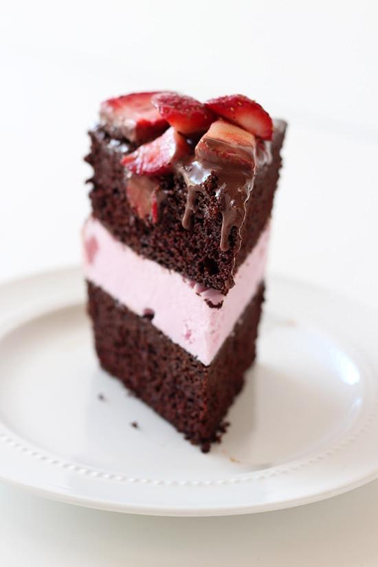 Homemade Chocolate Covered Strawberry Ice Cream Cake is delightfully ...