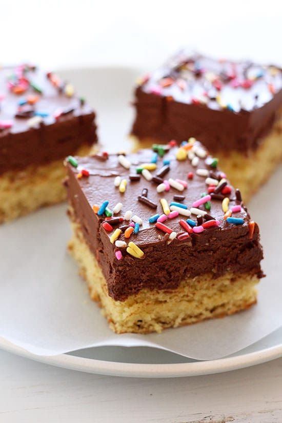 Chocolate Frosted Sugar Cookie Bars - soft, chewy, with a thick layer of chocolate frosting!