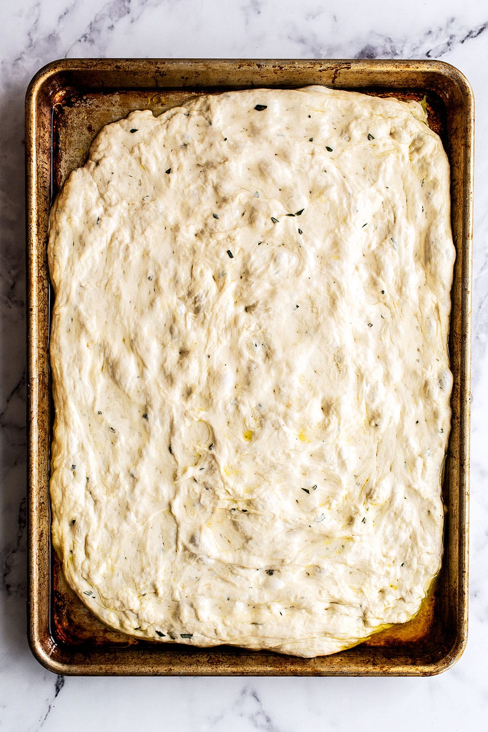 Tray of focaccia dough ready for the oven