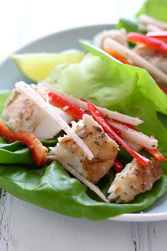 Grilled Fish Lettuce Tacos with Mojito Marinade - dairy-free & gluten-free!