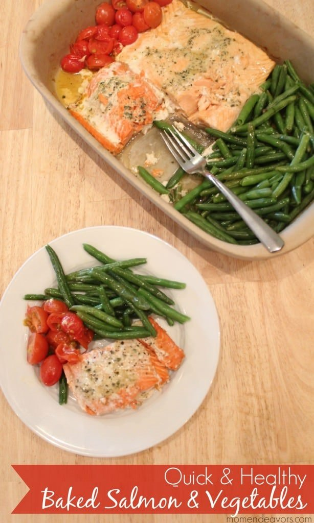 Quick & Healthy One Pan Baked Salmon & Veggies