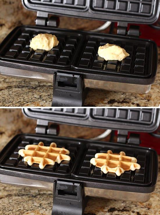 Doughnut Waffles with Maple Glaze