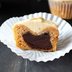 Chocolate Stuffed Sweet Potato Cupcakes with Caramel Icing