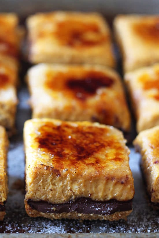 Creme Brule Pumpkin Chocolate Cheesecake Bars - we could not stop eating these!!