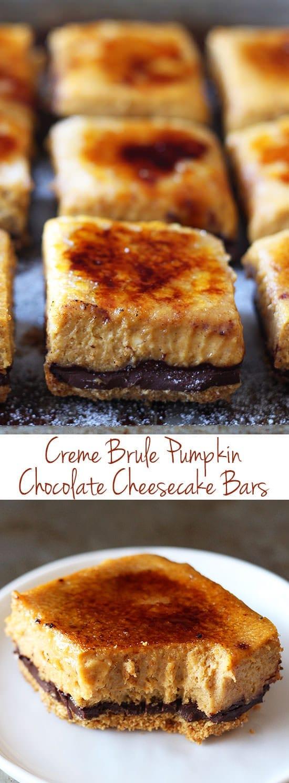 Creme Brule Pumpkin Chocolate Cheesecake Bars - so much BETTER than pumpkin pie! My boyfriend called said these were the best pumpkin dessert he'd ever had!