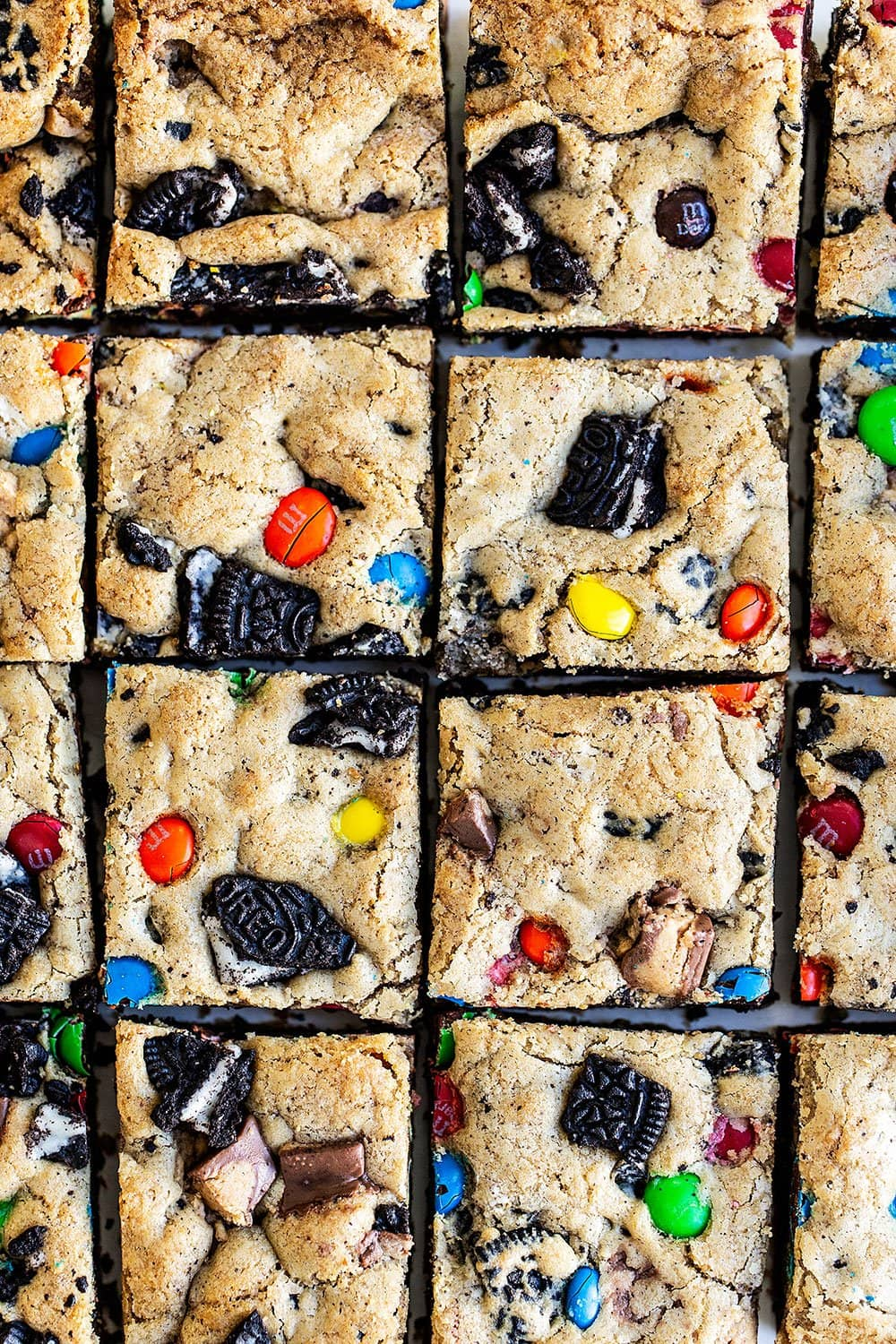 Loaded Cookie bars cut into squares and ready to serve