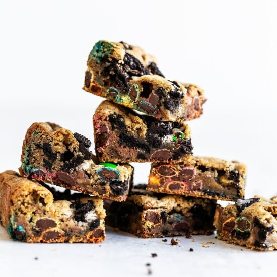 Stack of loaded cookie bar squares