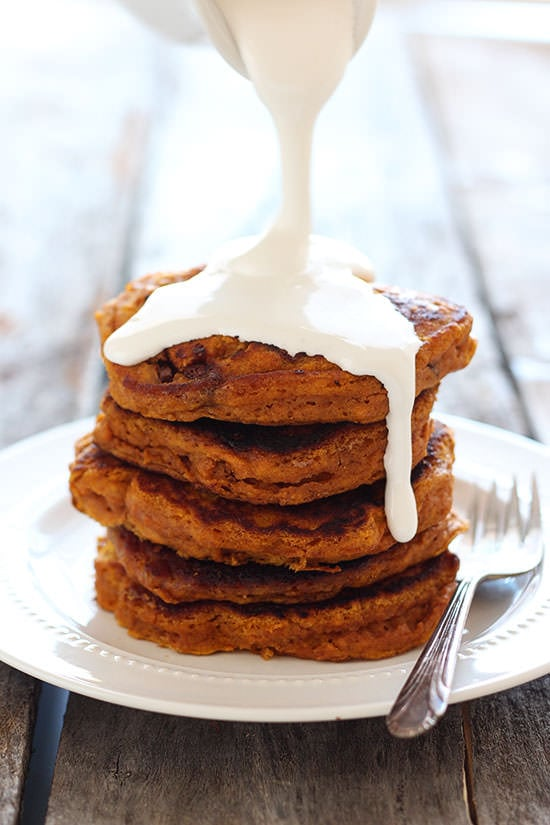Pumpkin S'mores Pancakes with marshmallow SYRUP! You NEED to make these!!
