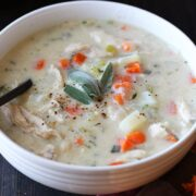 Perfect way to use leftover Thanksgiving turkey! Just 30 minutes and SO rich, creamy, and satisfying.