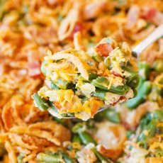 Cheesy Green Bean Casserole with Bacon