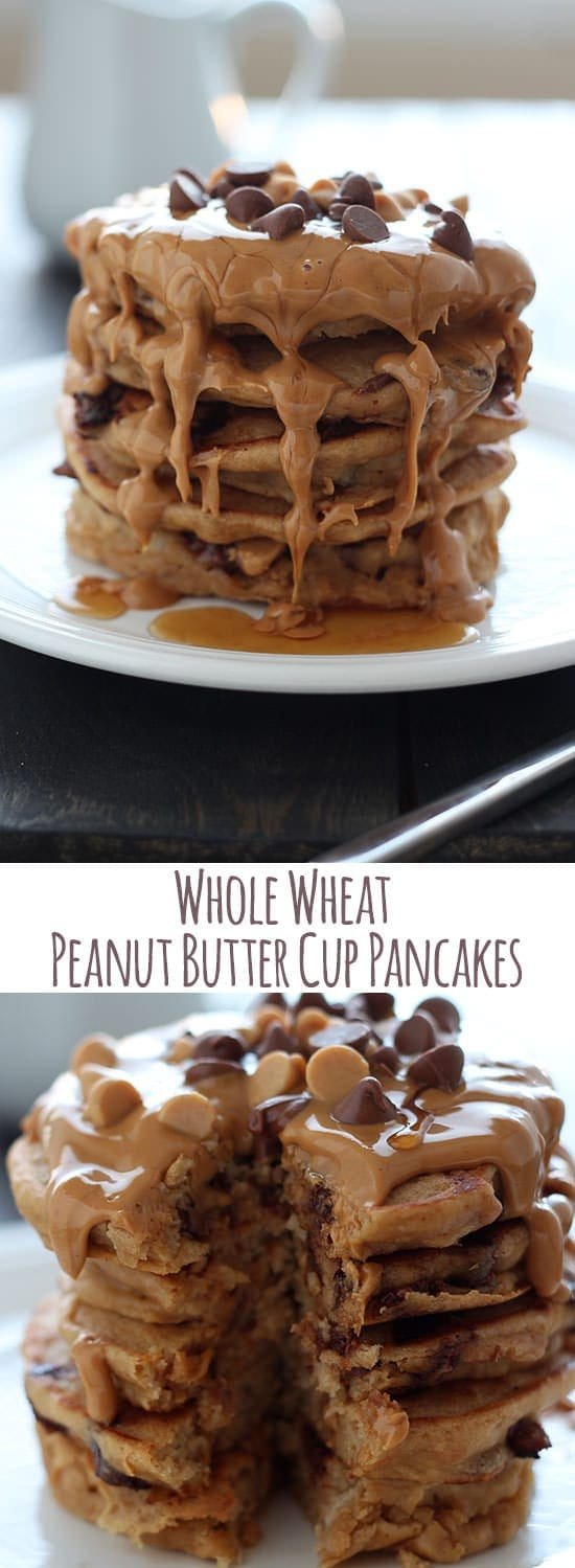 Healthier pancakes that taste like a peanut butter cup?! Make these asap!!