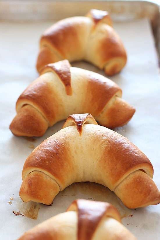 The most buttery, tender, golden brown crescent rolls I've ever made, and they're actually easy!!