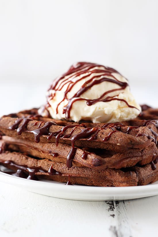 AMAZING. Fudge Waffles with Ice Cream