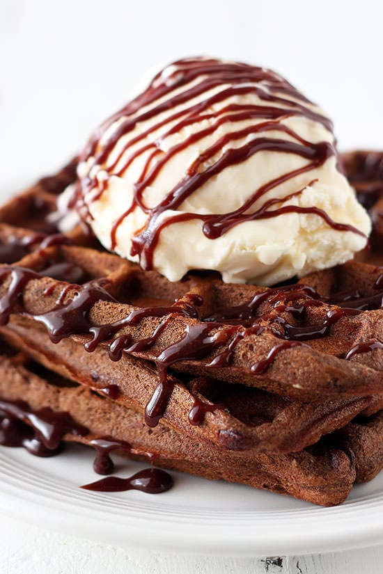 Dessert for breakfast AMAZINGNESS. Fudge Waffles with Ice Cream and Chocolate Sauce!