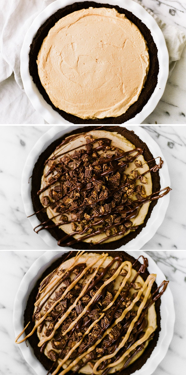 Step by step photos of assembling peanut butter pie with Oreo crust