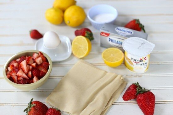 ingredients for strawberry lemon egg rolls