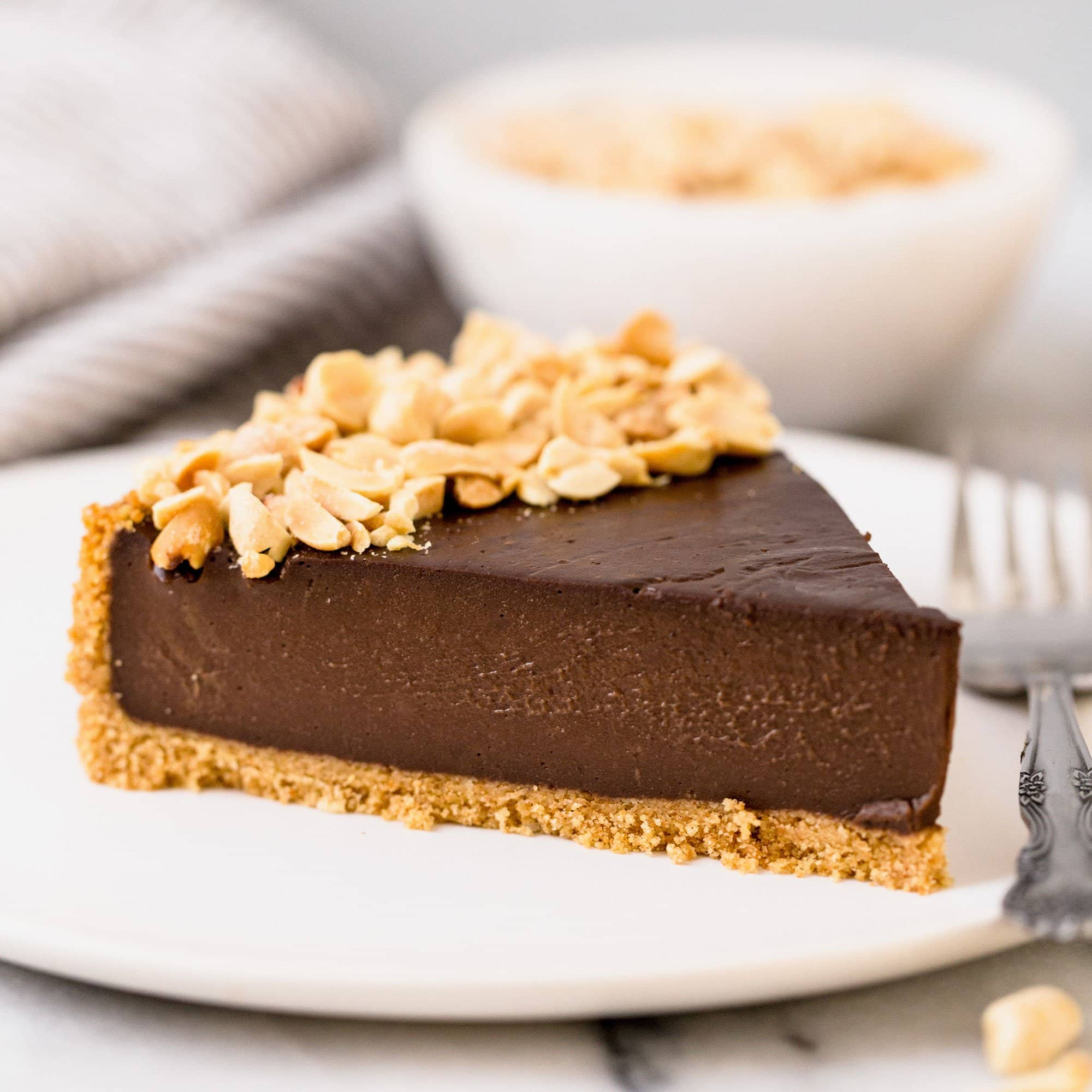 Chocolate Peanut Butter Pudding Pie Slice
