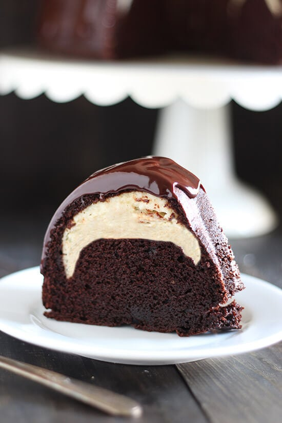 Cheesecake Filled Chocolate Bundt Cake - Handle the Heat