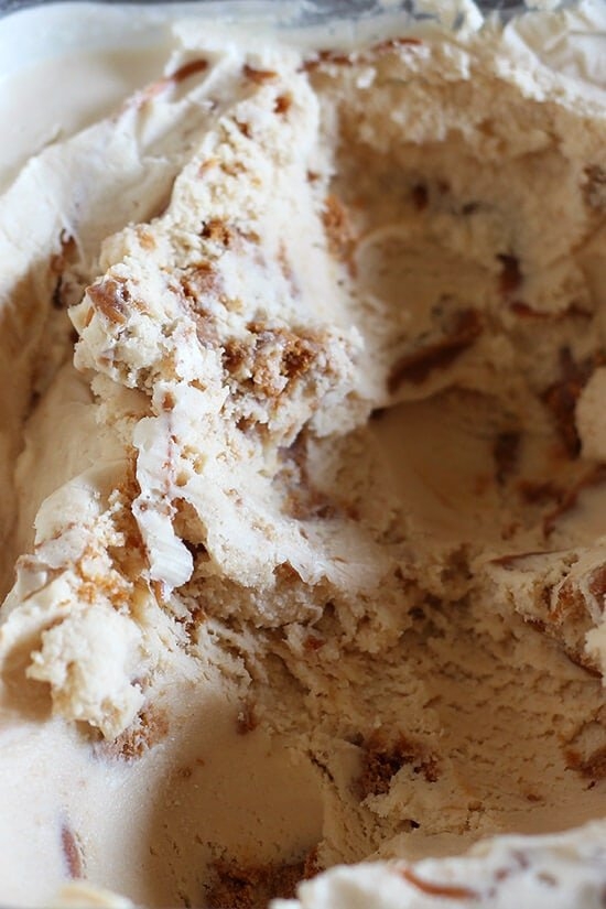 Cookie Butter Ice Cream is bound to become one of your favorite ice cream recipes! Easy no-cook ice cream loaded with cookie butter and Speculoos cookies. We LOVED this!