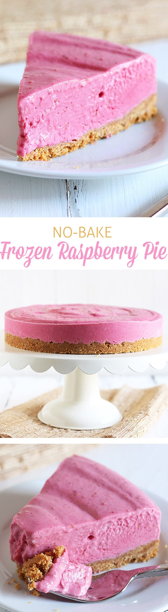 This No Bake Frozen Raspberry Pie is the ultimate fresh and frosty summer recipe perfect for entertaining and lightened up with nonfat yogurt!