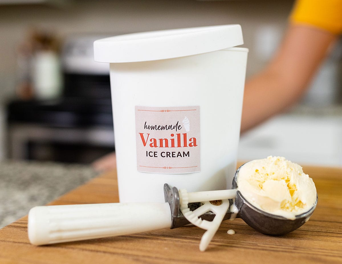 Pint container of DIY vanilla ice cream made without an ice cream maker