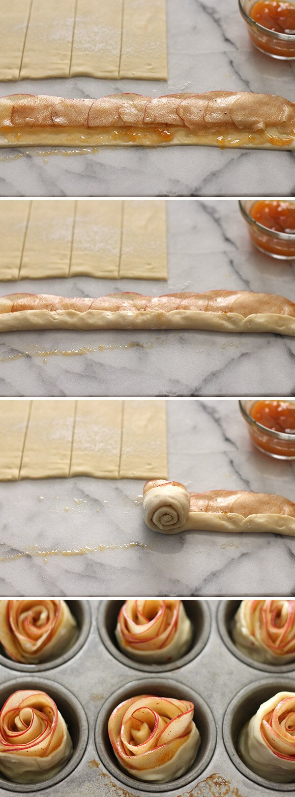 How to Make Apple Roses with this simple recipe for beautiful and gourmet individual apple pastries. Can be made ahead of time and perfect for Thanksgiving!