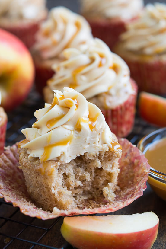 Enjoy caramel and apples in the form of a cupcake with these sweet and salty Apple Cupcakes with Caramel Frosting.