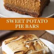 Sweet Potato Pie Bars with a thick graham cracker crust, from-scratch fresh sweet potato filling, and an easy toasted homemade marshmallow topping. The best fall or Thanksgiving treat for a crowd! #sweetpotatopie #piebar #thanksgivingpie