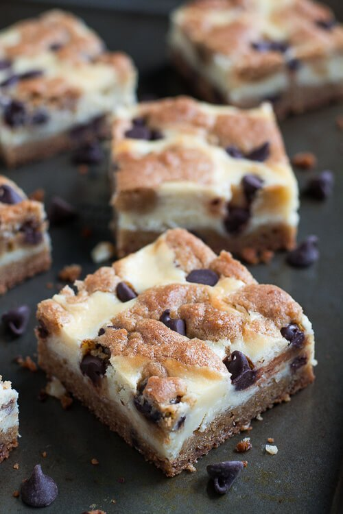 Enjoy two desserts in one with Chocolate Chip Cookie Cheesecake Bars!