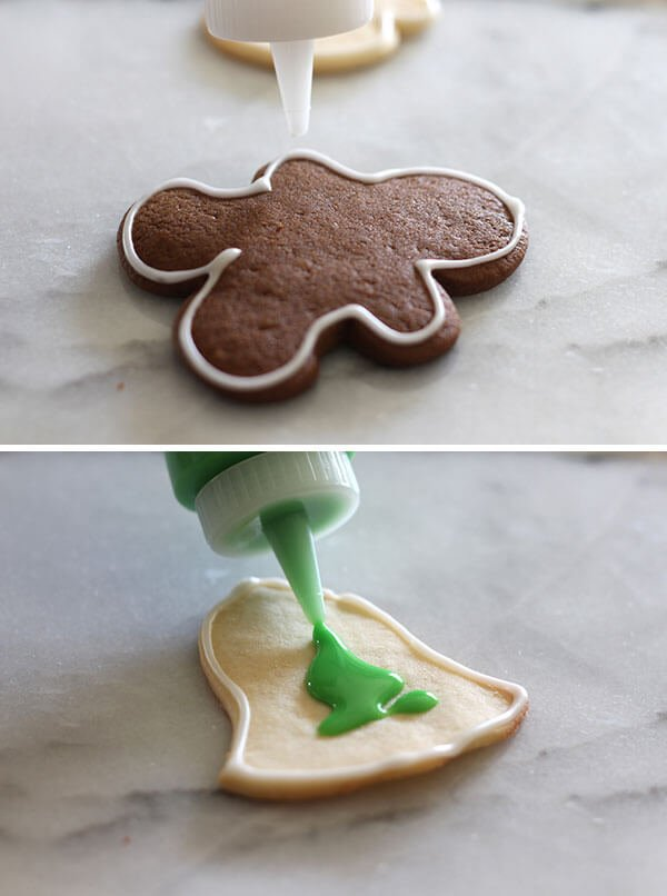 Easy cookie icing for Christmas sugar cookies and gingerbread cookies