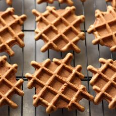 Gingerbread Doughnut Waffles with Maple Glaze