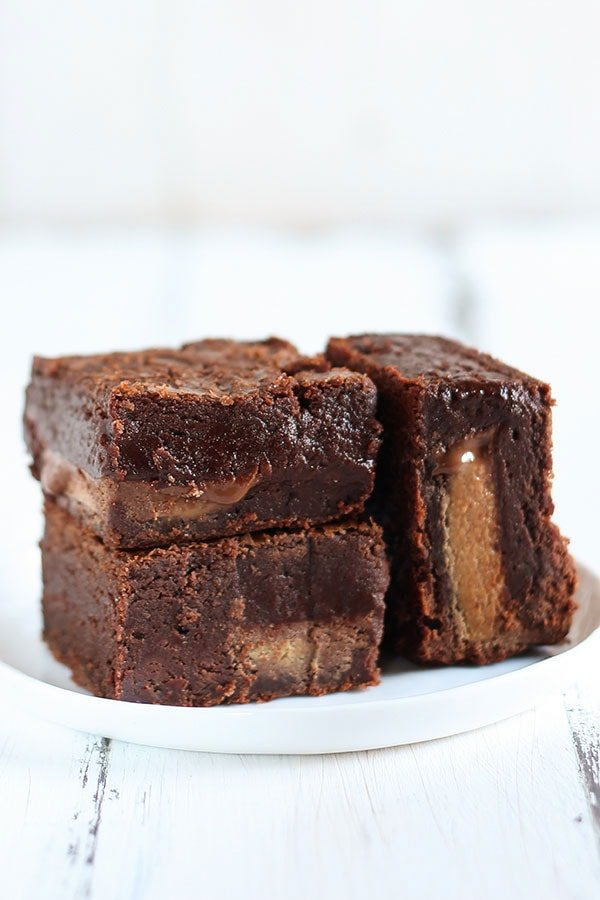 are the BEST peanut butter brownies ever! They have peanut butter ...