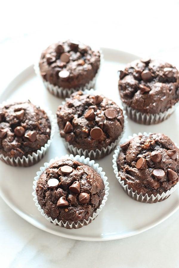 Chocolate Peanut Butter Banana Muffins - Handle the Heat