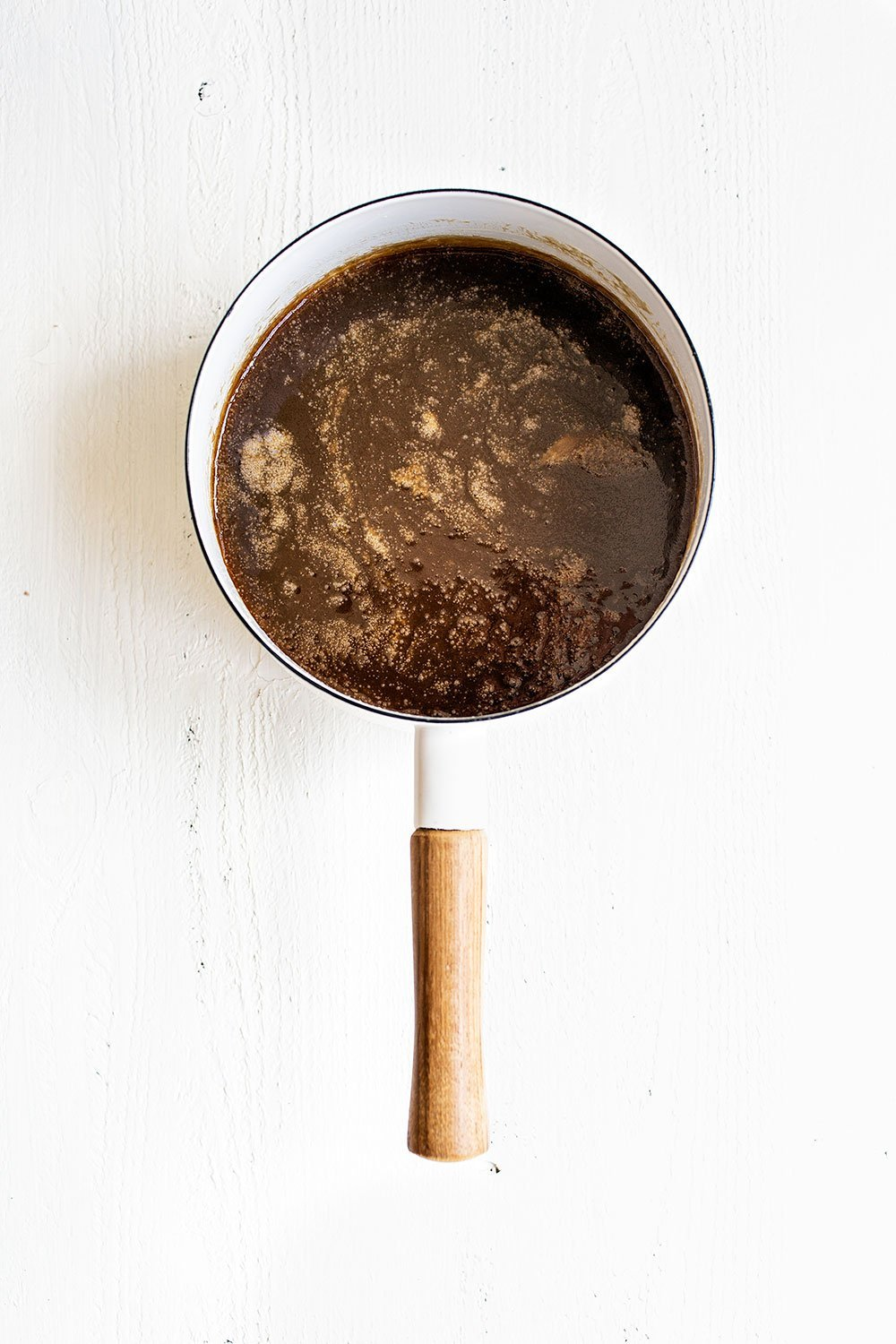 Hot Butterscotch sauce in saucepan