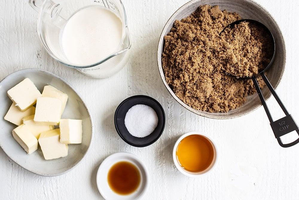 Ingredients for Butterscotch Sauce - brown sugar, butter, cream, salt, vanilla