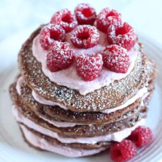 Chocolate Raspberry Pancake Cake