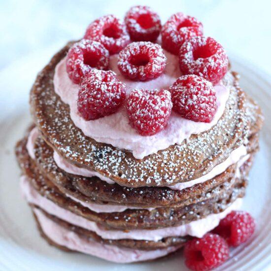 Chocolate Raspberry Pancake Cake