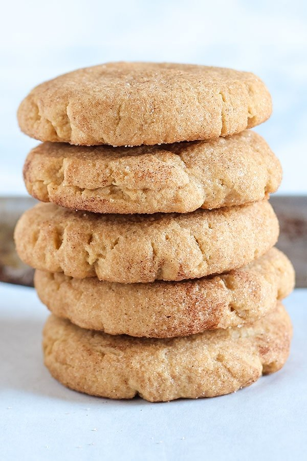 Peanut Butter Snickerdoodles are ultra soft with a dose of nutty peanut butter and a crunchy cinnamon sugar coating. Your house will smell WONDERFUL while these are baking! Mmm mmm.