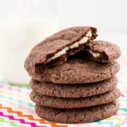 Cream Cheese Stuffed Chocolate Cookies are rich, sugar-coated chocolate cookies with the fun surprise of a sweet cream cheese filling.