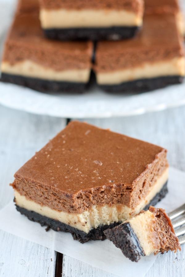 Layered Peanut Butter Chocolate Cheesecake Bars