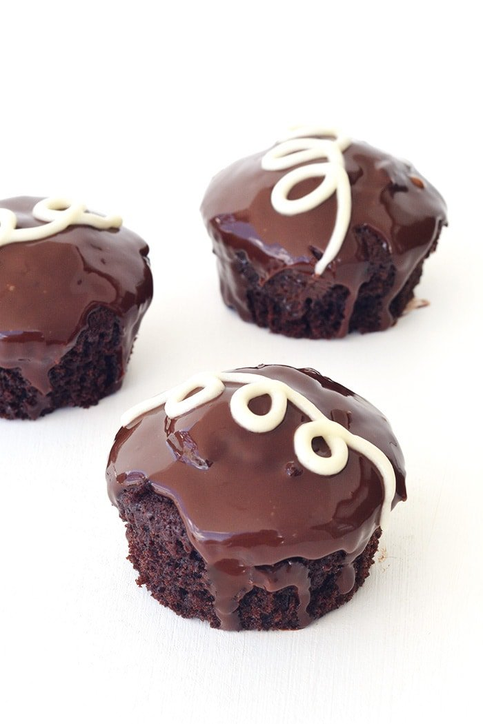 Homemade Ding Dong Chocolate Cupcakes