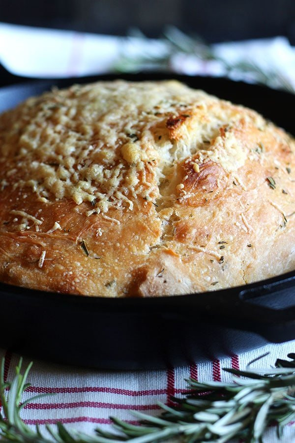 No Knead Rosemary Parmesan Skillet Bread Handle The Heat