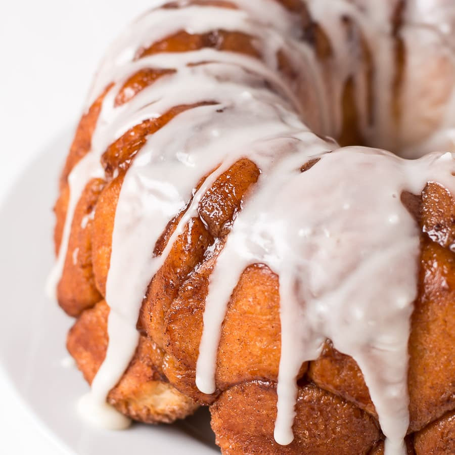 Buttery, cinnamon and sugar coated balls of dough, covered in a sweet creamy glaze... this Monkey Bread is irresistible!