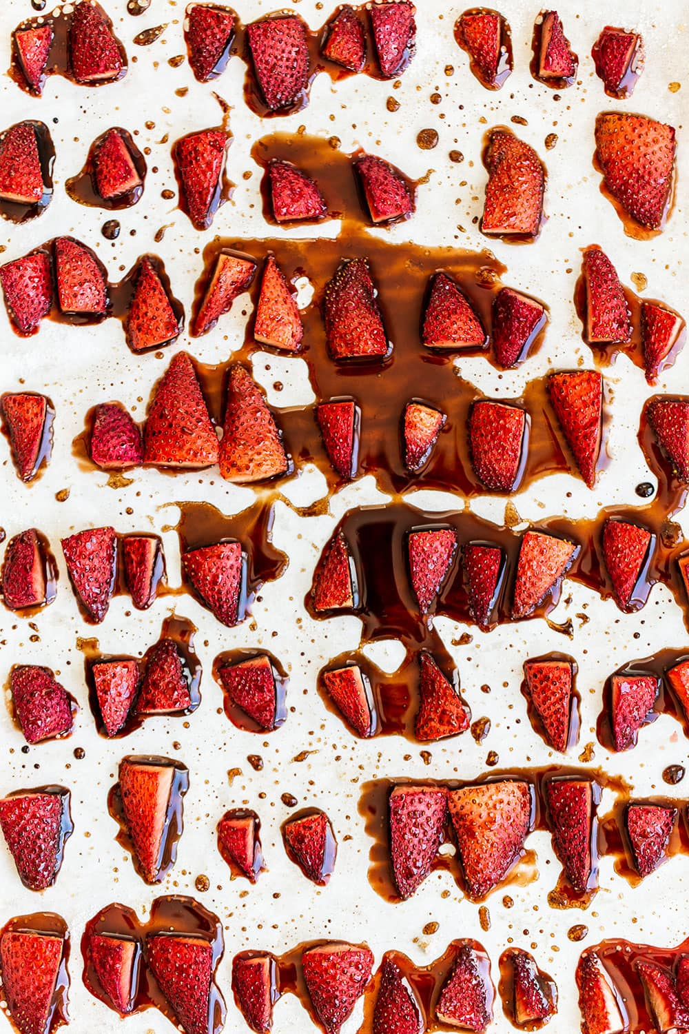 Roasted strawberries on a baking dish
