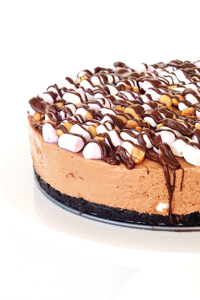 No Bake Rocky Road Cheesecake