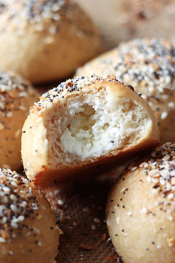 How to Make Bagel Bombs, or cream cheese-stuffed bagel balls that can be made ahead for a perfect portable breakfast on-the-go.