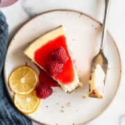 bite taken out of classic cheesecake recipe